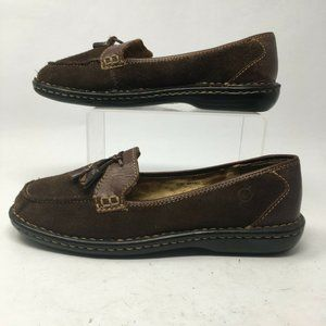 Born Womens 8 Casual Tassel Loafers Brown Suede Sl